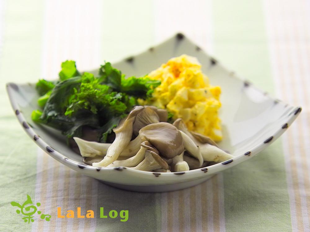 ララひらたけと春野菜とゆで卵の温製サラダ